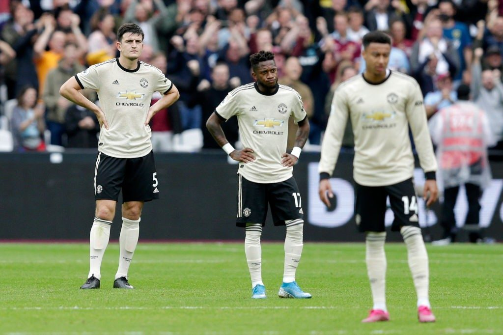 Manchester United players during a Premier League encounter.