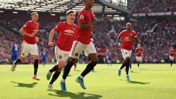 Manchester United players celebrate a goal against Leicester City at Old Trafford. (Getty Images)