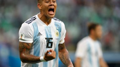 Marcos Rojo reacts during the 2018 FIFA World Cup group D match between Nigeria and Argentina. (Getty Images)