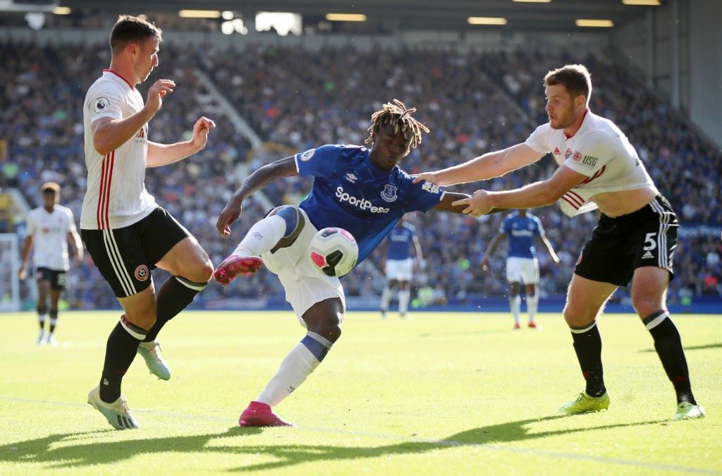 Everton's new summer signing teenager Moise Kean (centre) seen in action.