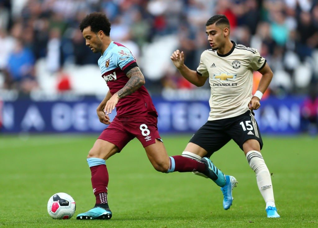 West Ham's Felipe Anderson in action against Manchester United during a premier league encounter.