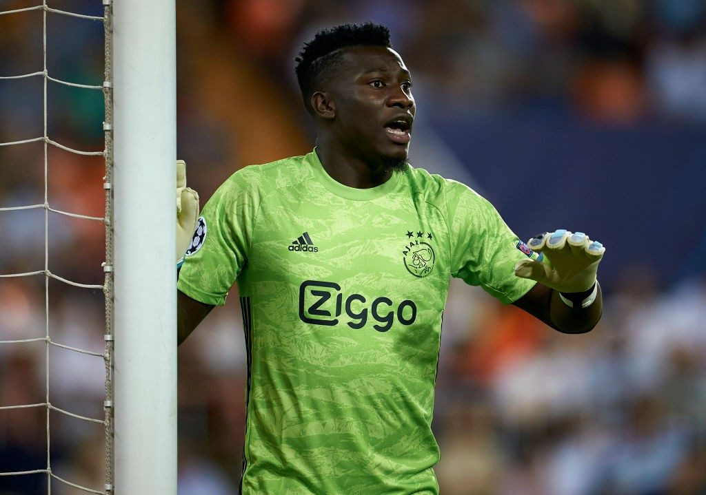 Andre Onana of Ajax in action during the UEFA Champions League group H match between Valencia CF and AFC Ajax at Estadio Mestalla on October 02, 2019 in Valencia, Spain. (Getty Images)
