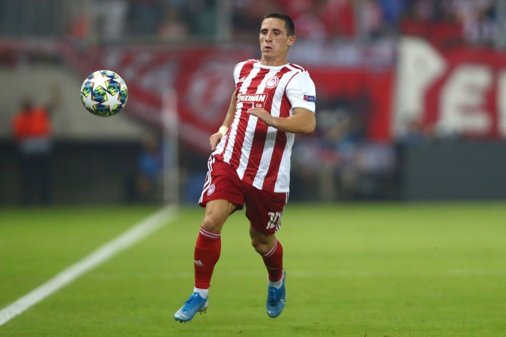 Olympiakos winger Daniel Podence in action. (Getty Images)