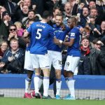 Everton players celebrate after scoring a goal against West Ham. (Getty Images)