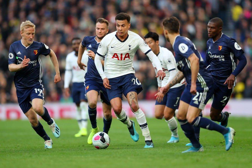 Tottenham's Dele Alli in full swing during a premier-league match.