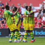 West Brom players celebrate after scoring a goal. (Getty Images)