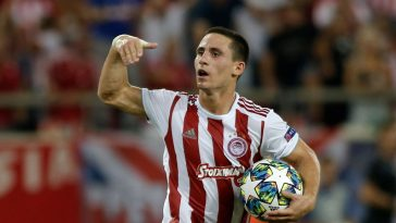 Olympiakos winger Daniel Podence celebrates after scoring against Tottenham in the Champions League. (Getty Images)
