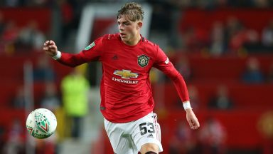Brandon Williams in action for Manchester United against Rochdale in the Carabao Cup. (Getty Images)
