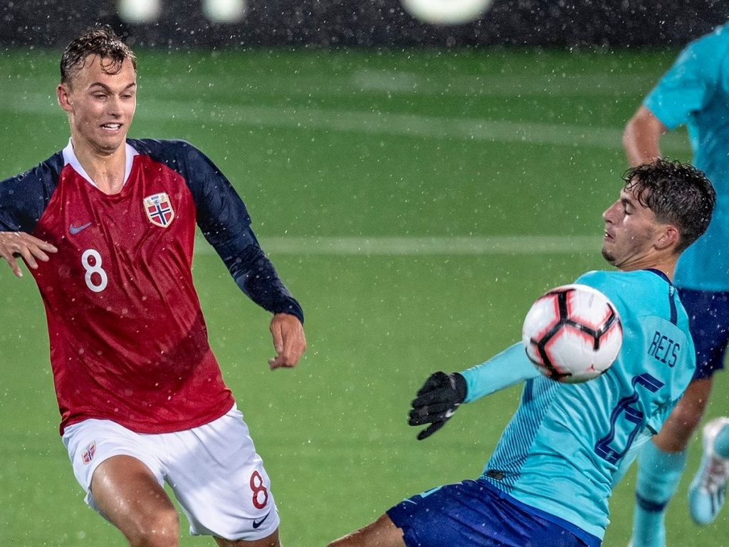 Norway under-21 player Emil Bohenin (left) in action.