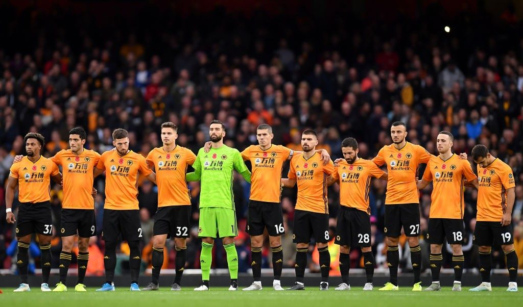 Wolves players lineup before a Europa League match.