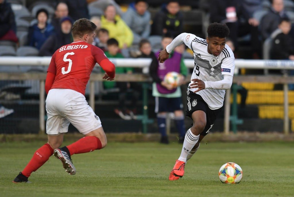 Karim Adeyemi (right) in action for his German under-17 side.