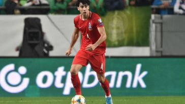 Azerbaijan's defender Bahlul Mustafazade plays the ball during the UEFA Euro 2020 qualifier Group E football match Hungary v Azerbaijan at the Groupama Arena. (Getty Images)