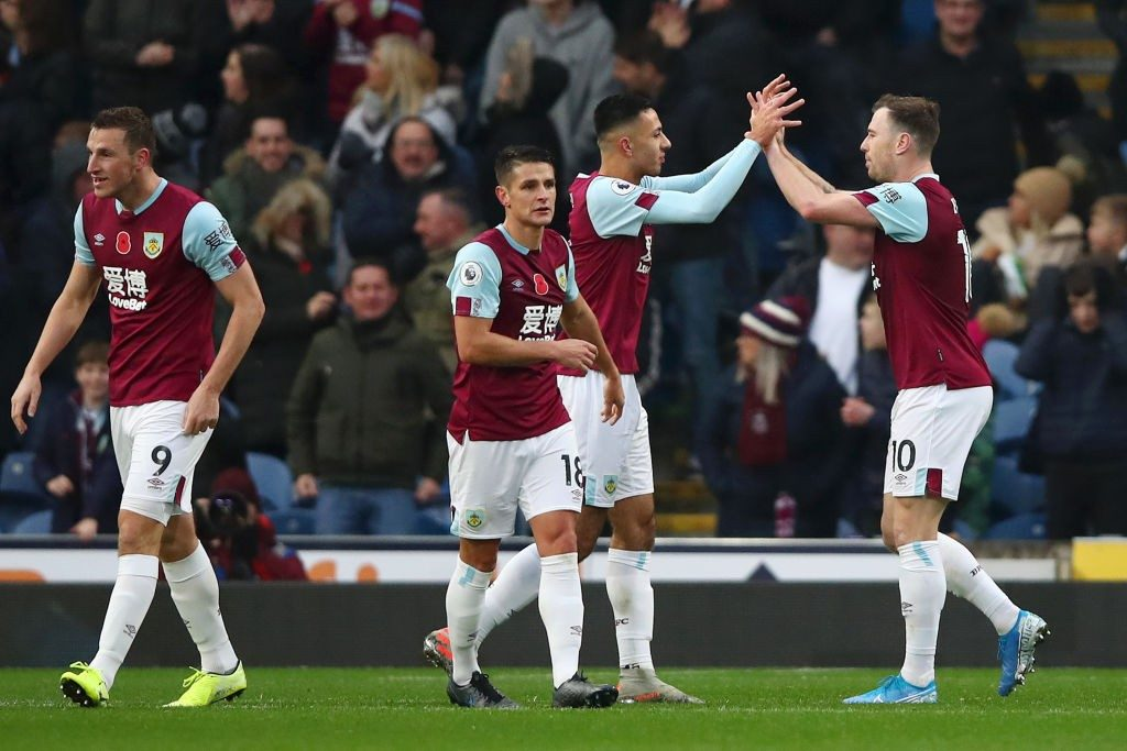 Burnley players celebrate against West Ham. (Getty Images)