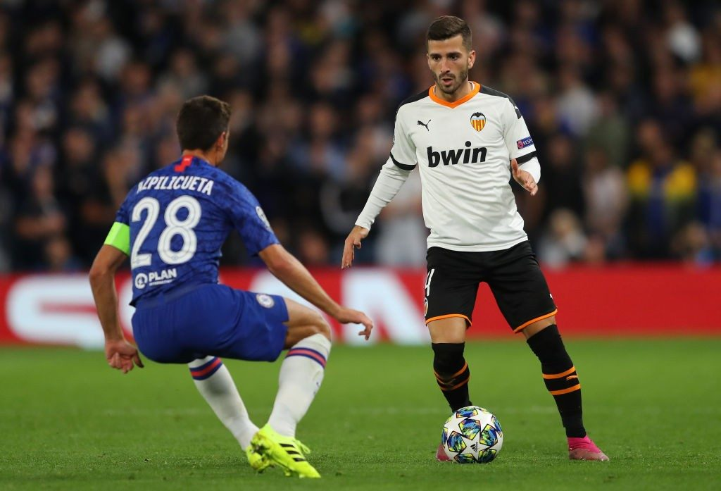 Jose Gaya playing for Valencia against Chelsea.