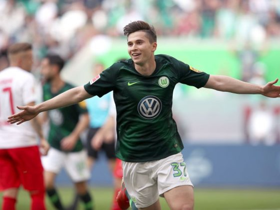 Elvis Rexhbecaj of Wolfsburg celebrates after scoring the 6-0 lead during the Bundesliga match between VfL Wolfsburg and FC Augsburg at Volkswagen Arena. (Getty Images)