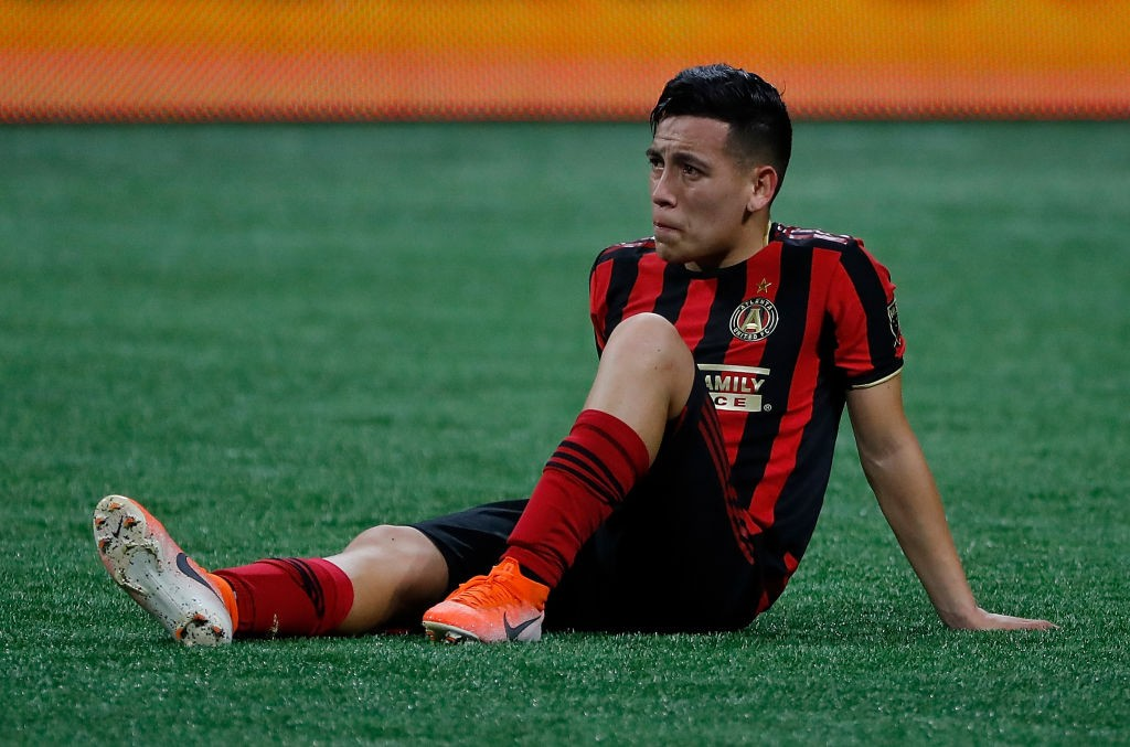 Ezequiel Barco #8 of the Atlanta United reacts after their 2-1 loss to Toronto FC in the Eastern Conference Finals between Atlanta United and Toronto FC at Mercedes-Benz Stadium. (Getty Images)