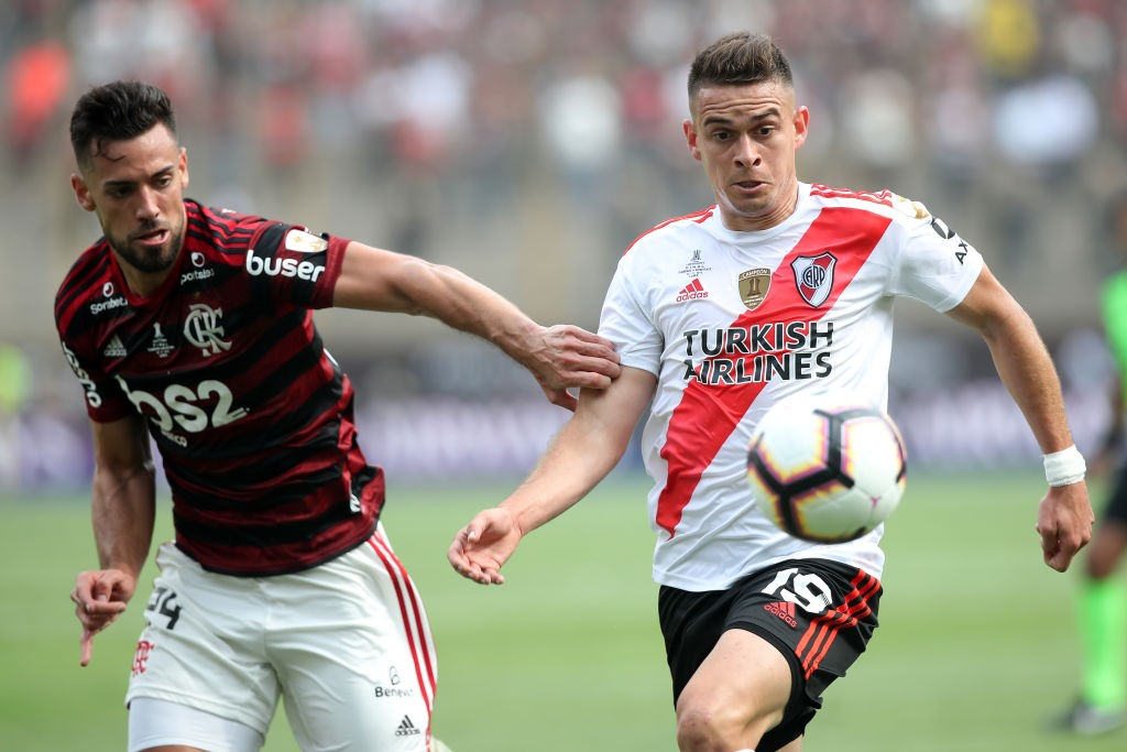 Santos Borre (right) in action against Flamengo in the Copa Libertadores final.