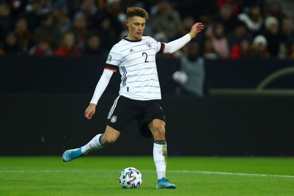 Koch in action for Germany against Belarus.