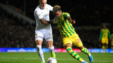 Grady Diangana of West Brom battles for the ball with Ben White of Leeds United during the Sky Bet Championship match between Leeds United and West Brom at Elland Road. (Getty Images)