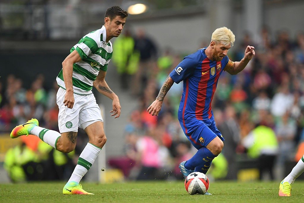 Nir (left) at times plays as a central defender when required for his Celtic side.