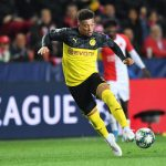 Jadon Sancho plays the ball during the UEFA Champions League group F match between Slavia Praha and Borussia Dortmund. (Getty Images)