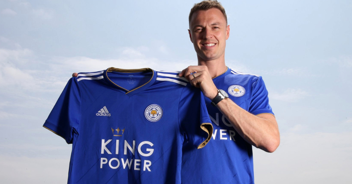 Jonny Evans during his unveiling as a Leicester City player. (Getty Images)