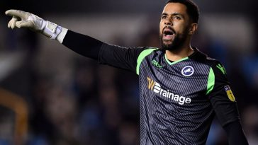 Jordan Archer of Millwall reacts during the Sky Bet Championship match between Millwall and Birmingham City at The Den. (Getty Images)