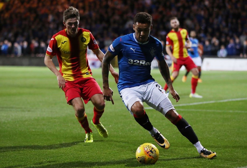 Kevin Nisbet of Partick Thistle vies with James Tavernier of Rangers during the Betfred League Cup Quarter Final at Firhill Stadium. (Getty Images)