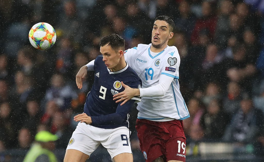 Lawrence Shankland of Scotland vies with Luca Cenoni of San Marino during the UEFA Euro 2020 qualifier between Scotland and San Marino at Hampden Park. (Getty Images)
