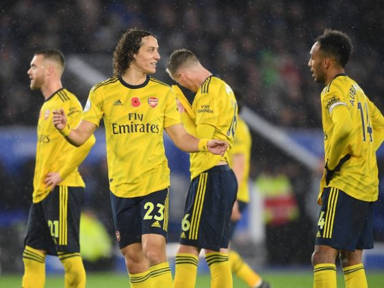 Arsenal players upset after going a goal down against Leicester City. (Getty Images)
