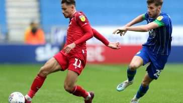 Matty Cash of Nottingham Forest in possession during the Sky Bet Championship match between Wigan Athletic and Nottingham Forest at DW Stadium. (Getty Images)
