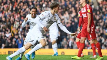 Patrick Bamford of Leeds United celebrates after scoring his sides first goal during the Sky Bet Championship match between Leeds United and Middlesbrough at Elland Road. (Getty Images)