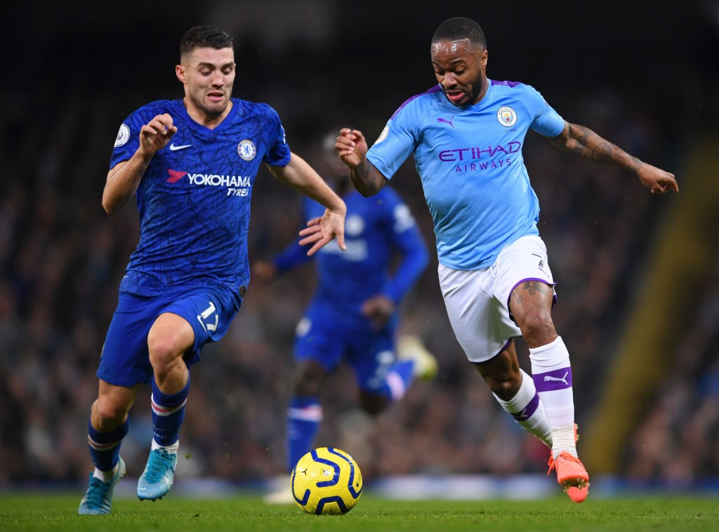 Manchester City's Raheem Sterling in action against Chelsea.