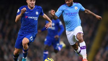 Raheem Sterling of Manchester City is challenged by Mateo Kovacic of Chelsea during the Premier League match between Manchester City and Chelsea FC at Etihad Stadium. (Getty Images)
