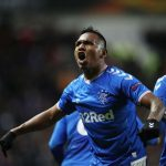 Alfredo Morelos celebrates after scoring for Rangers. (Getty Images)
