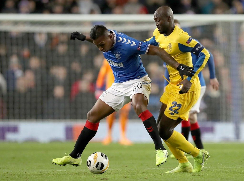 Morelos (left) in action against FC Porto in the Europa League encounter.