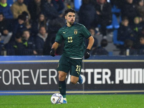 Riccardo Sottil of Italy U21 in action during the UEFA U21 European Championship Qualifier match between Italy and Iceland at Stadio Paolo Mazza. (Getty Images)