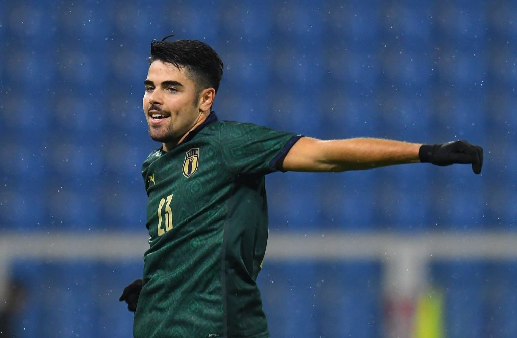 Riccardo Sottil of Italy U21 celebrates after scoring the opening goal during the UEFA U21 European Championship Qualifier match between Italy and Iceland at Stadio Paolo Mazza. (Getty Images)