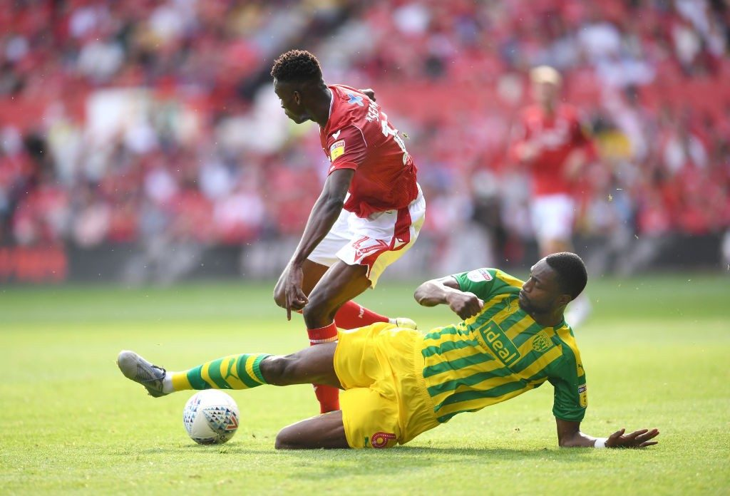 Semi Ajayi of West Bromwich Albion tackles Alfa Semedo of Nottingham Forest during the Sky Bet Championship match between Nottingham Forest and West Bromwich Albion at City Ground. (Getty Images)