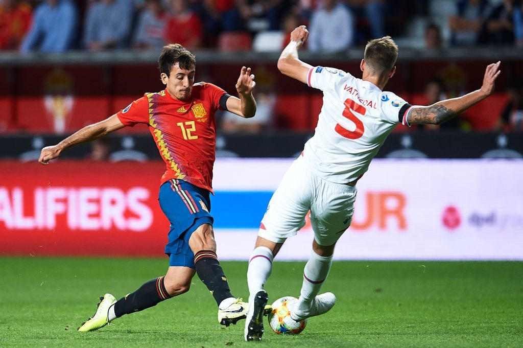Mikel Oyarzabal in action for Spain.