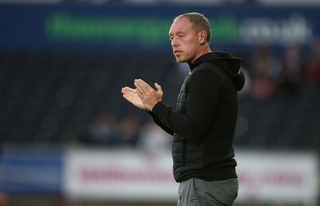 Swansea City Head Coach Steve Cooper looks on during the Carabao Cup First Round match between Swansea City and Northampton Town at Liberty Stadium. (Getty Images)