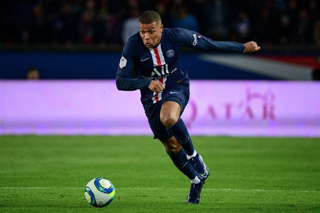Mbappe in action for PSG.