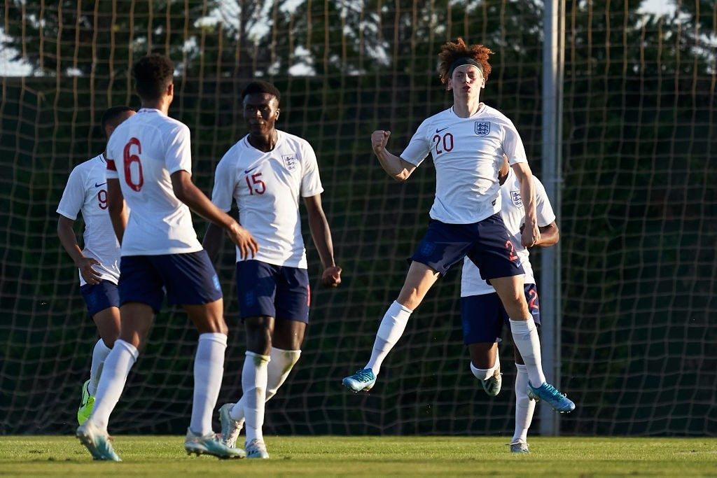 England under-17 players celebrating a goal against Germany under-17 recently.