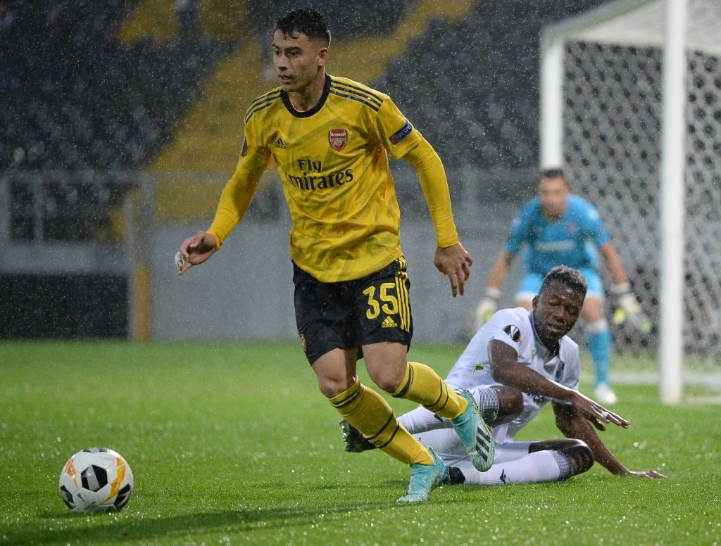 Arsenal youngster Gabrielle Martinelli in action during a Europa League encounter.
