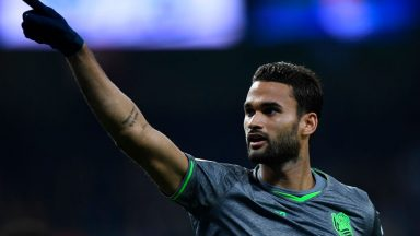 Real Sociedad's Willian Jose celebrates the opening goal during the La Liga match between Real Madrid and Real Sociedad at the Santiago Bernabeu stadium. (Getty Images)