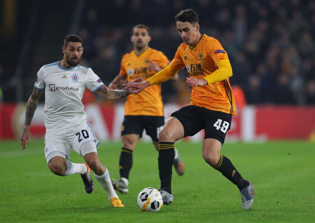 Wolves defender Max Kilman (right) in action during a Europa League encounter.