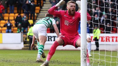 Zander Clark of St Johnstone reacts after James Forrest of Celtic scores his team's opening goal during the Ladbrokes Premiership match between St Johnstone and Celtic at McDiarmid Park. (Getty Images)