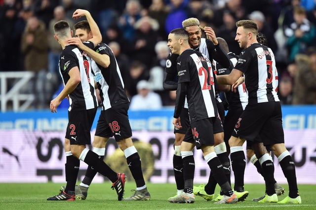 Newcastle United players celebrate a goal. (Getty Images)