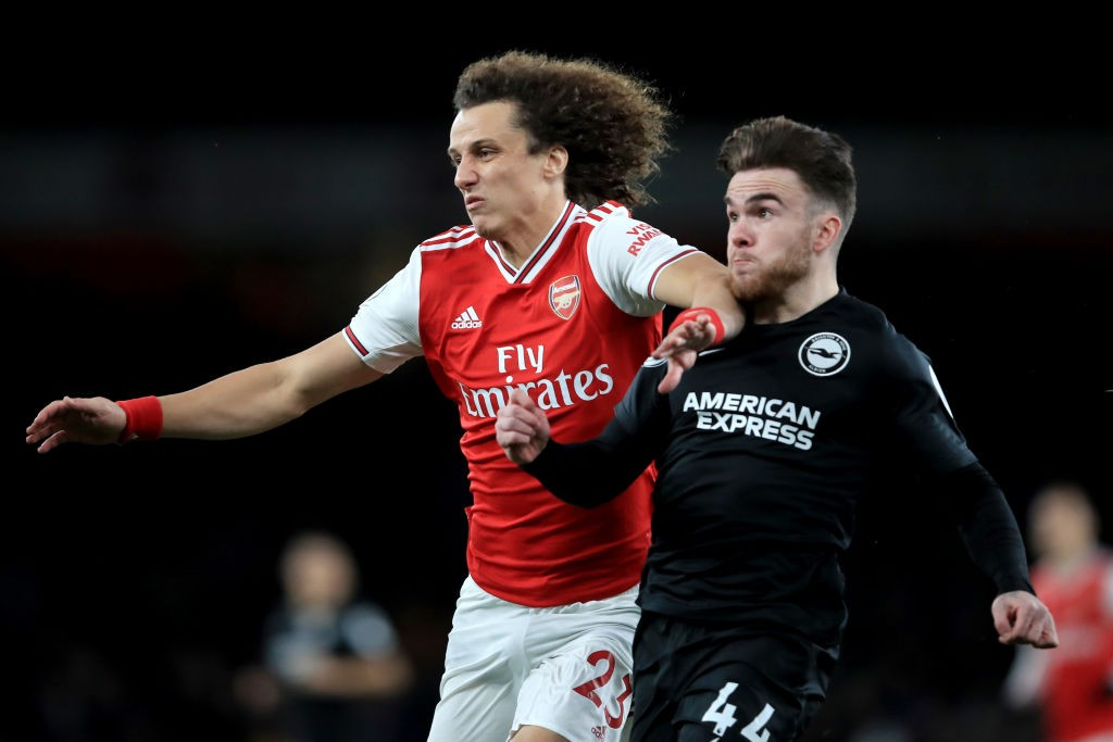 David Luiz in action for Arsenal against Brighton and Hove Albion.