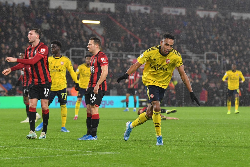 Pierre-Emerick Aubameyang of Arsenal celebrates after scoring his team's first goal during the Premier League match between AFC Bournemouth and Arsenal FC at Vitality Stadium on December 26, 2019 in Bournemouth, United Kingdom. (Getty Images)